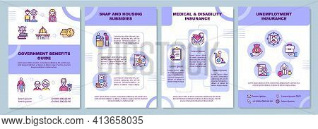 Government Benefits Guide Brochure Template. Snap, Housing Subsidies. Flyer, Booklet, Leaflet Print,