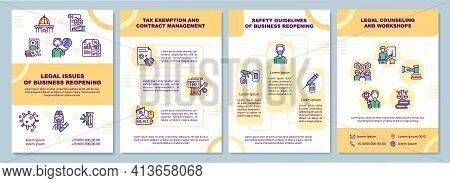 Legal Issues Of Business Reopening Brochure Template. Tax Exemption. Flyer, Booklet, Leaflet Print,