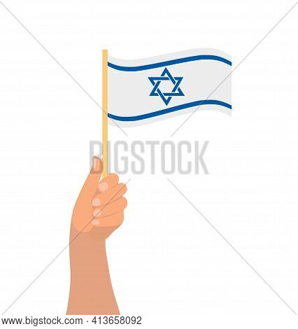 Happy Israel Independence Day, Hand Hold Israel Flag Icon. Vector Illustration