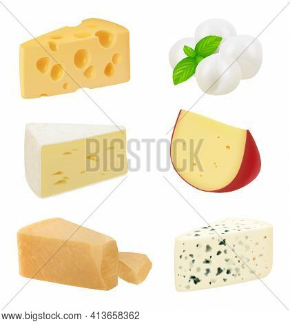 Realistic Cheese. Pieces Of Delicious Gourmet Food Variety Mozzarella Natural Healthy Milk Products