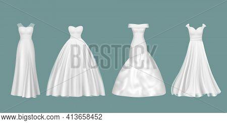 Wedding Dresses. Elegant Luxury Women Evening White Color Clothes For Beauty Brides Decent Vector Re
