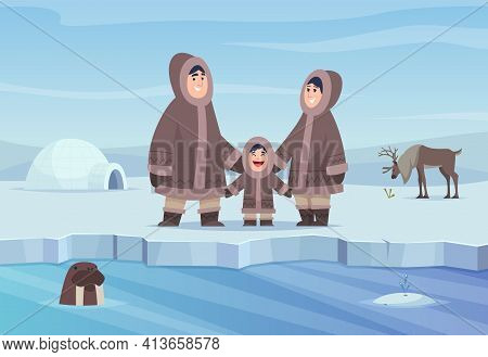 North Pole Background. Eskimo Authentic People Winter Cold Clothes Happy Characters Exact Vector Car