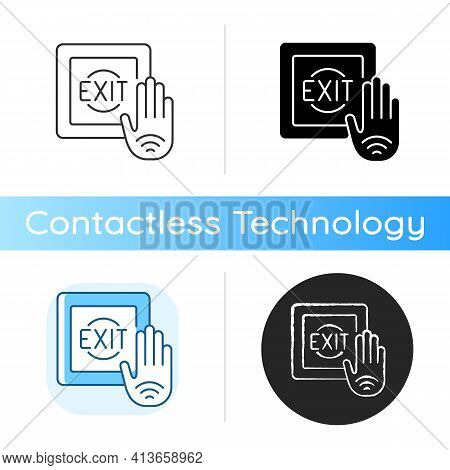 No Touch Exit Switch Icon. Exit Button With Infrared Sensor Which Allows User To Unlock Door Without