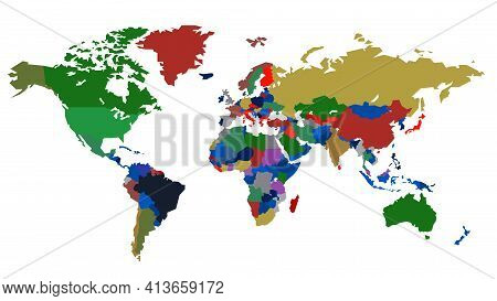 World Map, Color, On A White Background, Each Country On A Separate Layer. Stock Vector Illustration