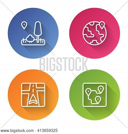 Set Line City Map Navigation, Location The Globe, Gps Device With And Route Location. Color Circle B