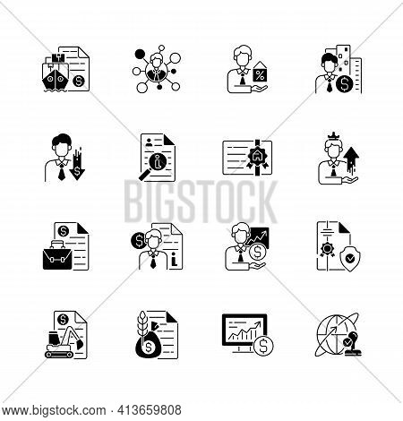 Broker Service Black Linear Icons Set. Online Stock Trading. Intellectual Property. Business Deal. E
