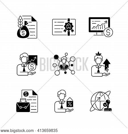 Financial Advisor Black Linear Icons Set. Commodity Broker Services. Professional License. Online St