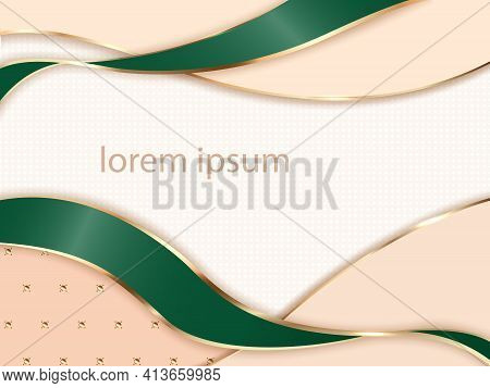 Abstract Background In Shades Of Ivory And Green With Gold