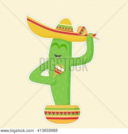 Cactus In A Sombrero With Maracas In A Pot. Picture With A White Outline On A Yellow Background