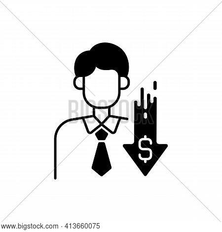 Discount Broker Black Linear Icon. Falling Prices. Cost Reduction. Financial Recession. Economic Fai