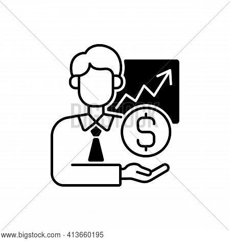 Sponsorship Broker Black Linear Icon. Increasing Financial Chart. Brokerage Service. Trading Stock S