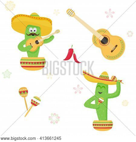 Set Сactus In A Sombrero With A Guitar And Maracas In A Pot, Chilli Pepper. Picture With White Backg