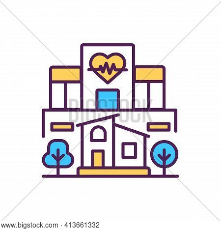 Hospital Building Rgb Color Icon. Clinic In City District. Medical Center In Urban Neighborhood. Cen