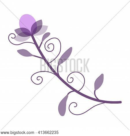 A Beautiful Unreal Pink Flower With Leaves And Curls. Vector Cartoon Illustration