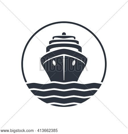 Sea Ship Graphic Icon. Cruise Liner In The Circle Sign Isolated On White Background.  Sea Cruise Sym