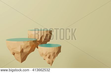 Floating Island Podium Empty In Beige Composition For Modern Stage Display ,abstract Showcase Backgr