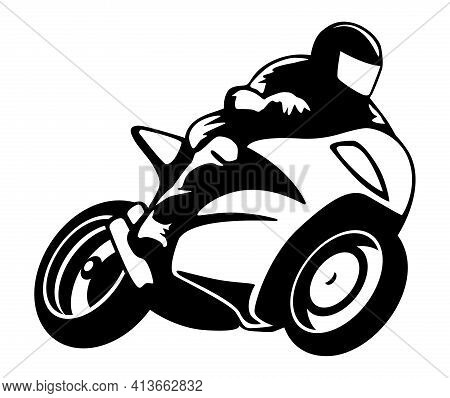 Motorcycle Rider On A Super Bike Isolated Vector Illustration