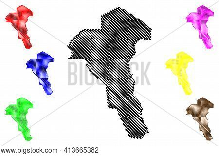 Unity State (states Of South Sudan, Greater Upper Nile Region) Map Vector Illustration, Scribble Ske