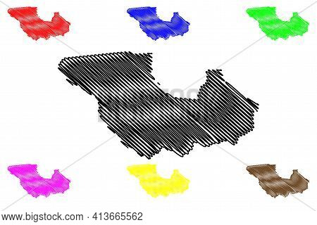 Western Equatoria State (states Of South Sudan, Equatoria Region) Map Vector Illustration, Scribble
