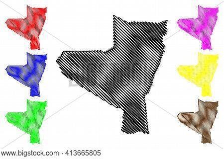 Kassala State (republic Of The Sudan, North Sudan) Map Vector Illustration, Scribble Sketch Kassala