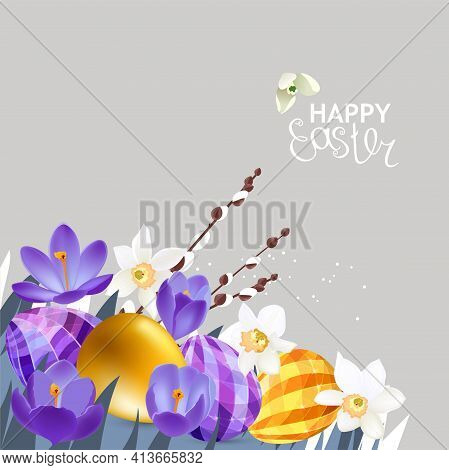 Festive Greeting Card With Easter Eggs And Spring Crocuses. Easter Floral Template For Your Design.
