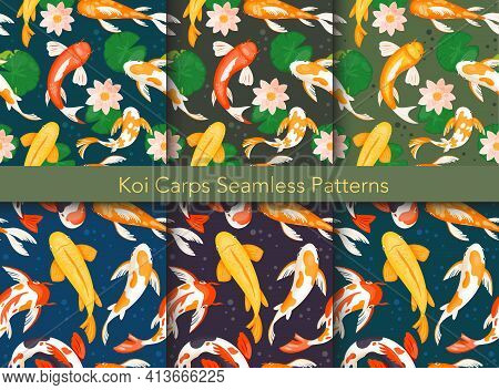 Koi Carp Fishes Seamless Pattern Vector Illustration Set, Goldfishes Swim In Water Pond