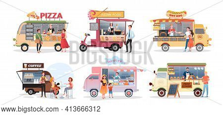 Street Market Food Truck, Outdoor Cafe Vector Illustration Set. Cartoon Foodtruck With Menu Pizza As