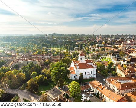 Aerial View Of Vilnius Old Town, One Of The Largest Surviving Medieval Old Towns In Northern Europe.