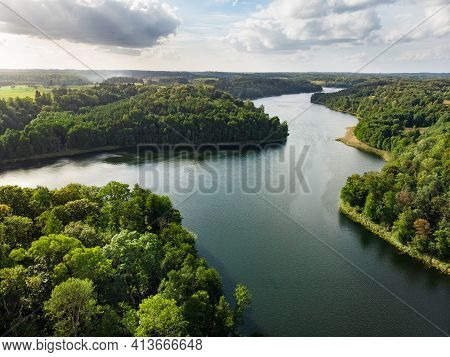 Aerial Landscape View Of Lake Asveja, The Longest Lake In Lithuania.