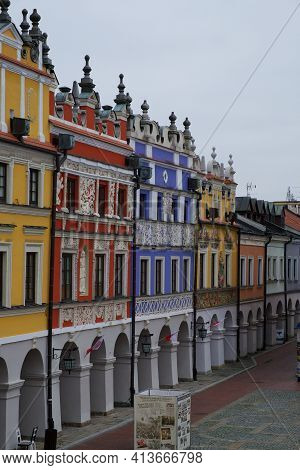 Zamosc, Poland, November 10, 2020. Richly Decorated Old Renaissance Houses In The Polish Town Of Zam