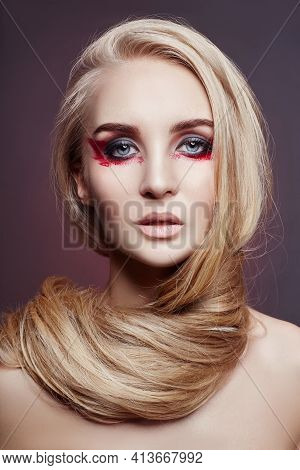 Beautiful Woman Long Hair Coloring In Ultra Blond, Natural Make-up. Stylish Hairstyle Curls Done In