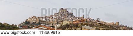 A Panaroma Cityscape View Of The Historic Hilltop Coty Of Morella In Central Spain