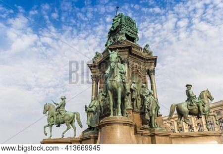 Sculpture Of Horses At The Maria-theresien-platz Square In Vienna, Austria