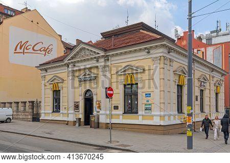 Belgrade, Serbia - February 14, 2021: First Mc Donalds Restaurant At Slavija Square In Yugoslavia