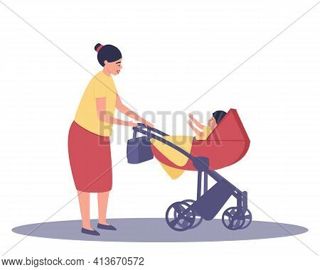 Mom Looks At The Baby In The Stroller. Walking Mom And Child. From The Stroller, The Child Pulls The