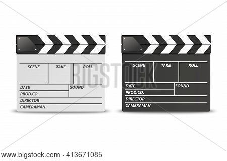 Vector 3d Realistic Closed White And Black Movie Film Clap Board Icon Set Closeup Isolated On White