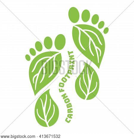 Carbon Footprint Icon From Foots Shape. Co2 Ecological Footprint Symbols With Green Leaves. Greenhou