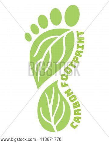 Carbon Footprint Icon From Foot Shape. Co2 Ecological Footprint Symbols With Green Leaves. Greenhous