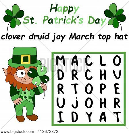 Happy St. Patrick's Day Word Search Puzzle For Children Stock Vector Illustration. Funny Educational