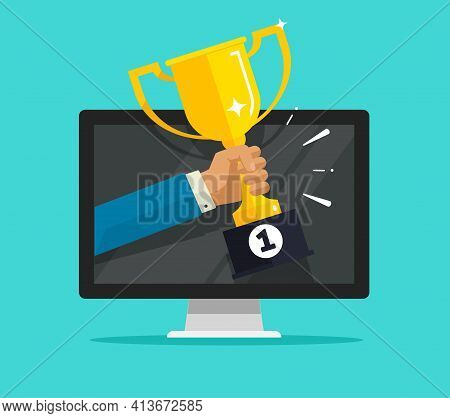 Online Internet Victory Or Digital Web Champion Award Prize On Computer Pc Competition Vector Flat C