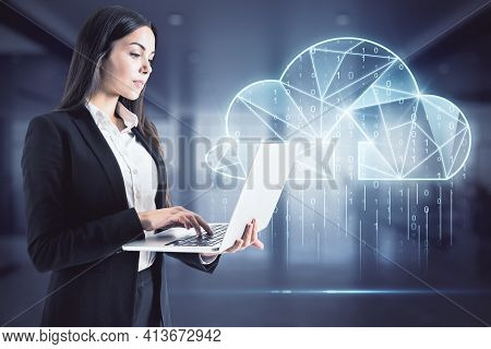 Cloud Technology And Digital Transformation Concept With Businesswoman Working On Laptop On Digital