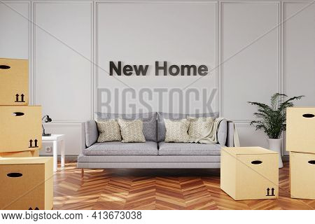 Minimalistic Elegant Living Room Interior With Stacks Of Moving Boxes And Sofa In Front Of New Home