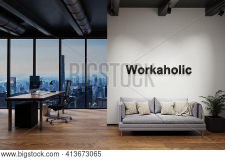 Modern Luxury Loft With Skyline View And Couch, Wall With Workaholic Lettering, 3d Illustration