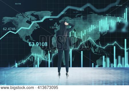 Worldwide Online Trading Concept With Trader Woman Looking At Big Screen With Digital Financial Char