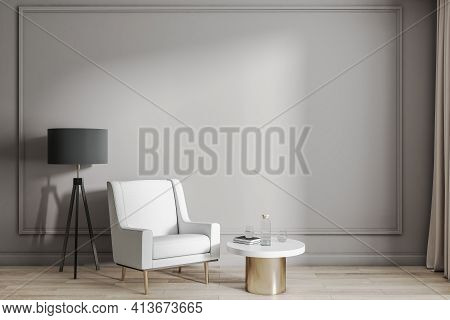 Classic Interior Design In Sunny Leaving Room With White Armchair, Black Floor Stand Lamp And Modern