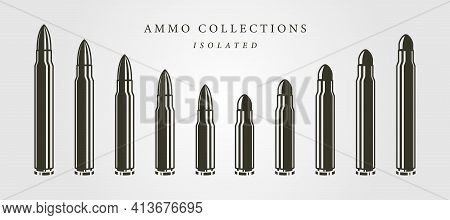 Set Of Bullets Ammunition Object Vector Isolated Illustration Designs, Vintage Bullet Designs