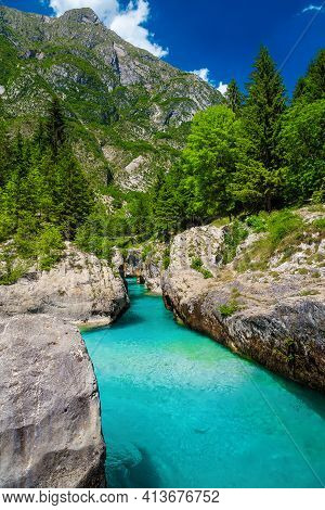 Majestic Rafting And Kayaking Place In Europe. Beautiful Recreation Place And Kayaking Destination.