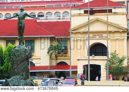 Manila, Philippines - November 24, 2017: People Visit Philippine General Hospital In Manila. There A