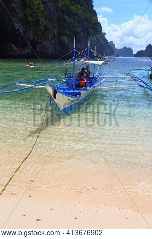 Palawan, Philippines - December 1, 2017: People Visit Shimizu Island On An Island Hopping Tour A In