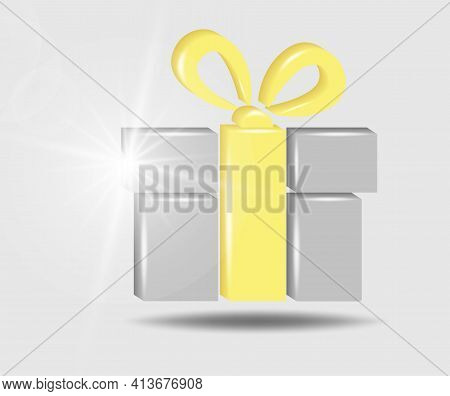 Present Gift Box Icon. Surprise Present Design. 3d Vector Illustration In Yellow - Gray Colors.